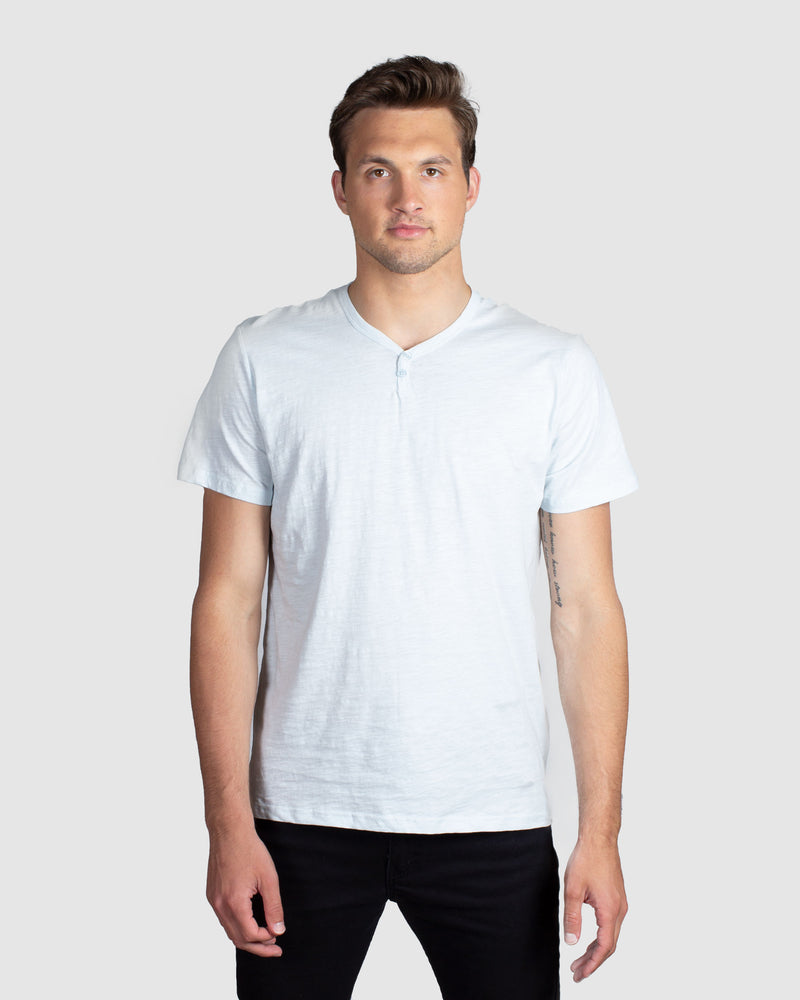 Slub Notch Henley, Light Blue
