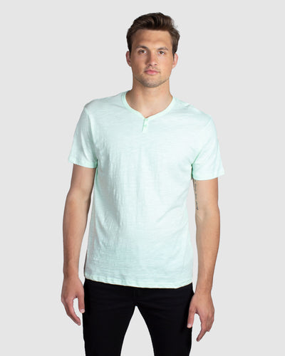 Slub Notch Henley, Light Green