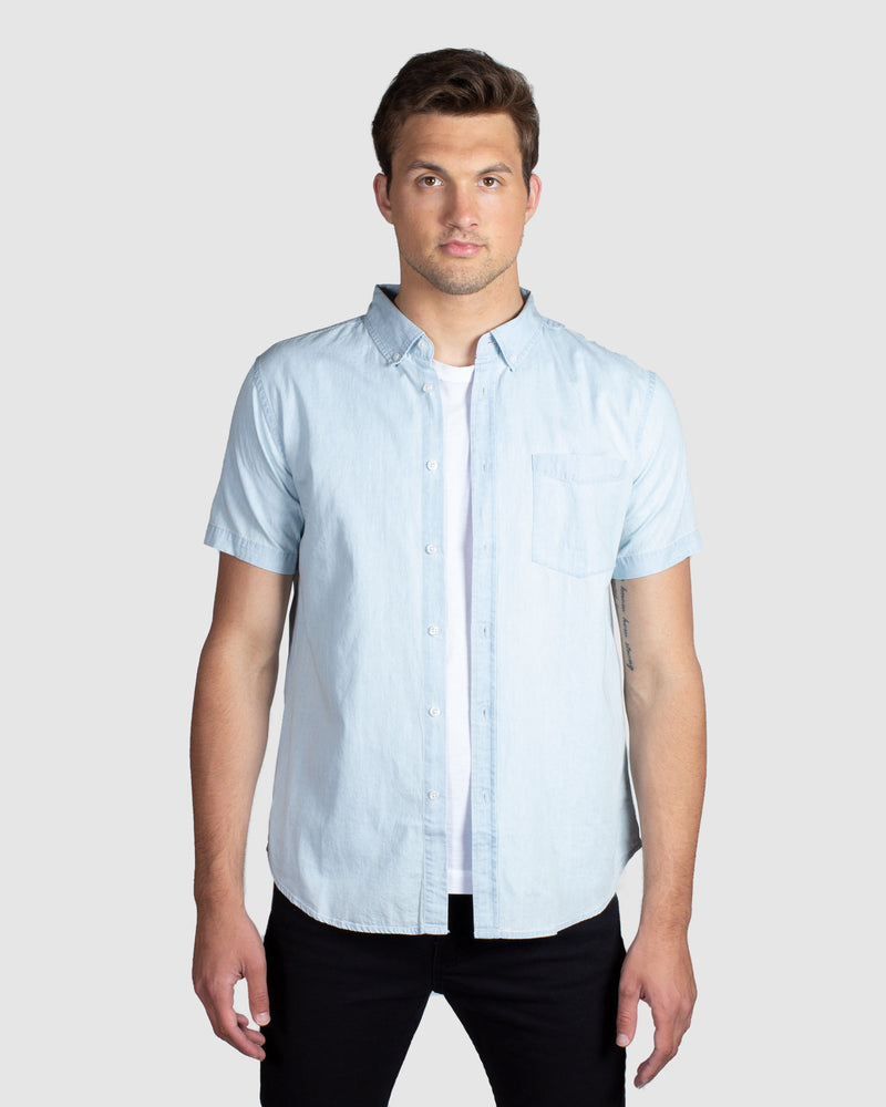 Denim Short Sleeve Shirt, Light Blue