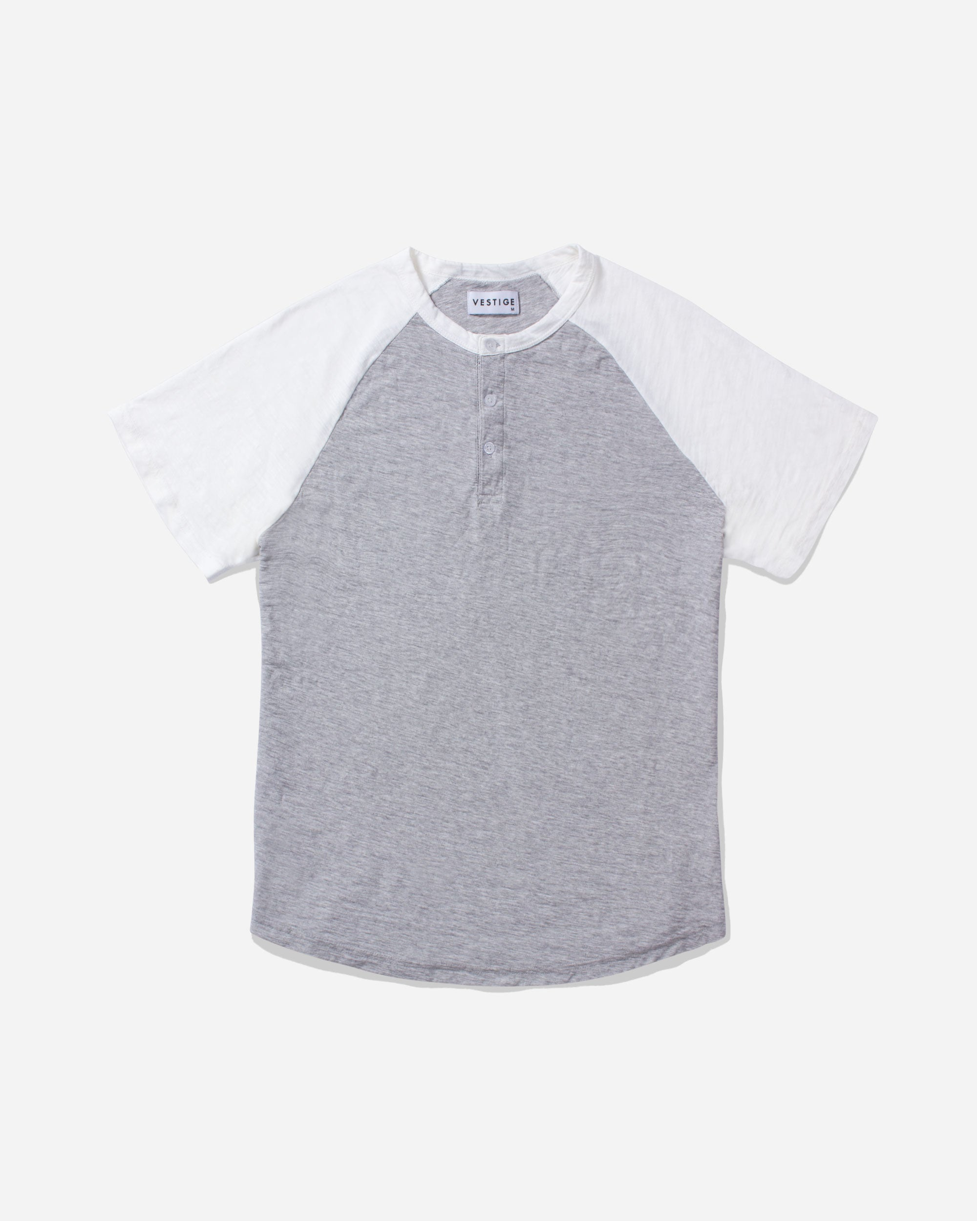 Color Block Raglan Henley, Light Grey