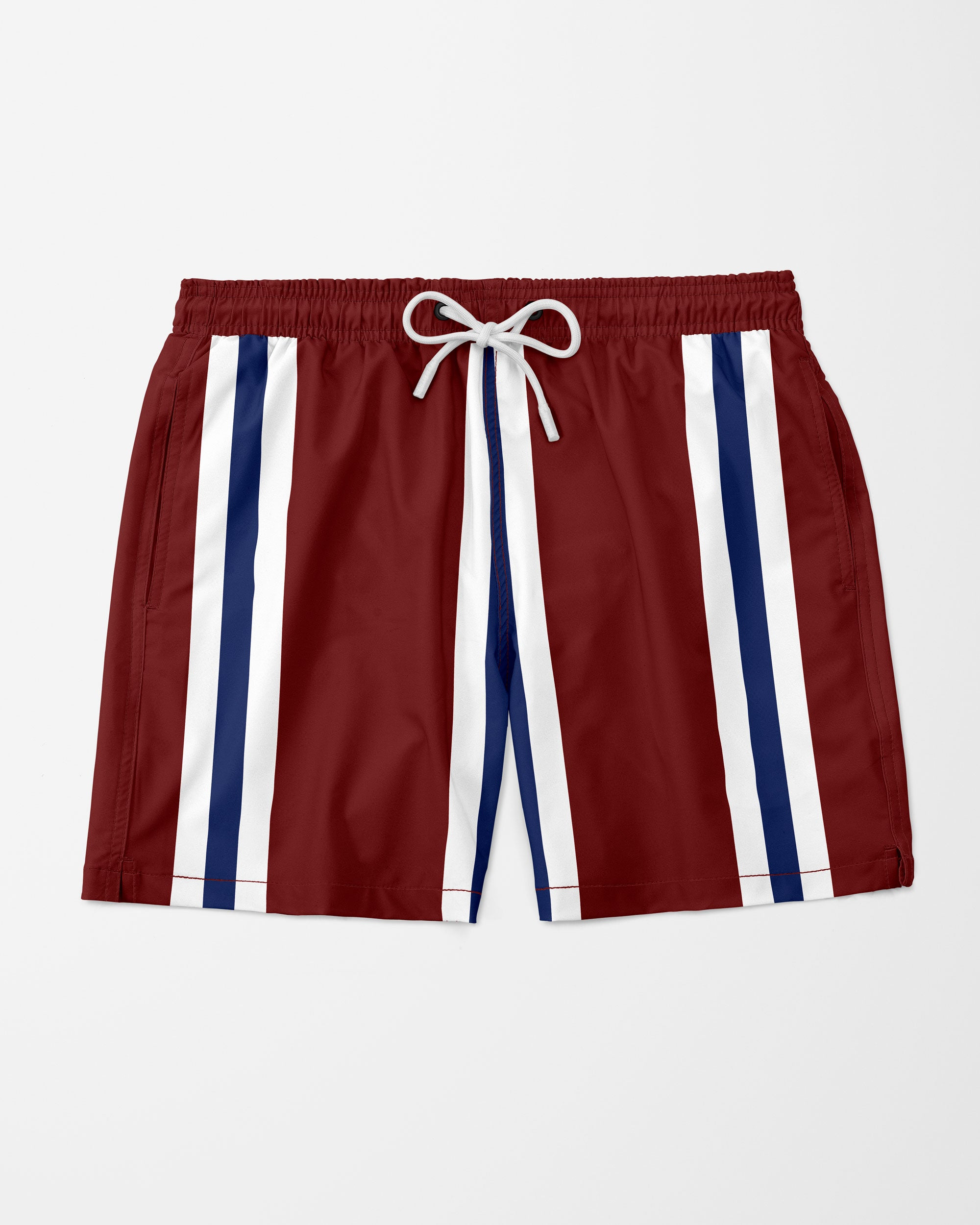 "Vince Stripe 5.5"" Swim Shorts, Red"