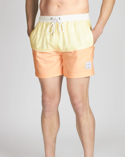White Line Square Swim Short, Yellow