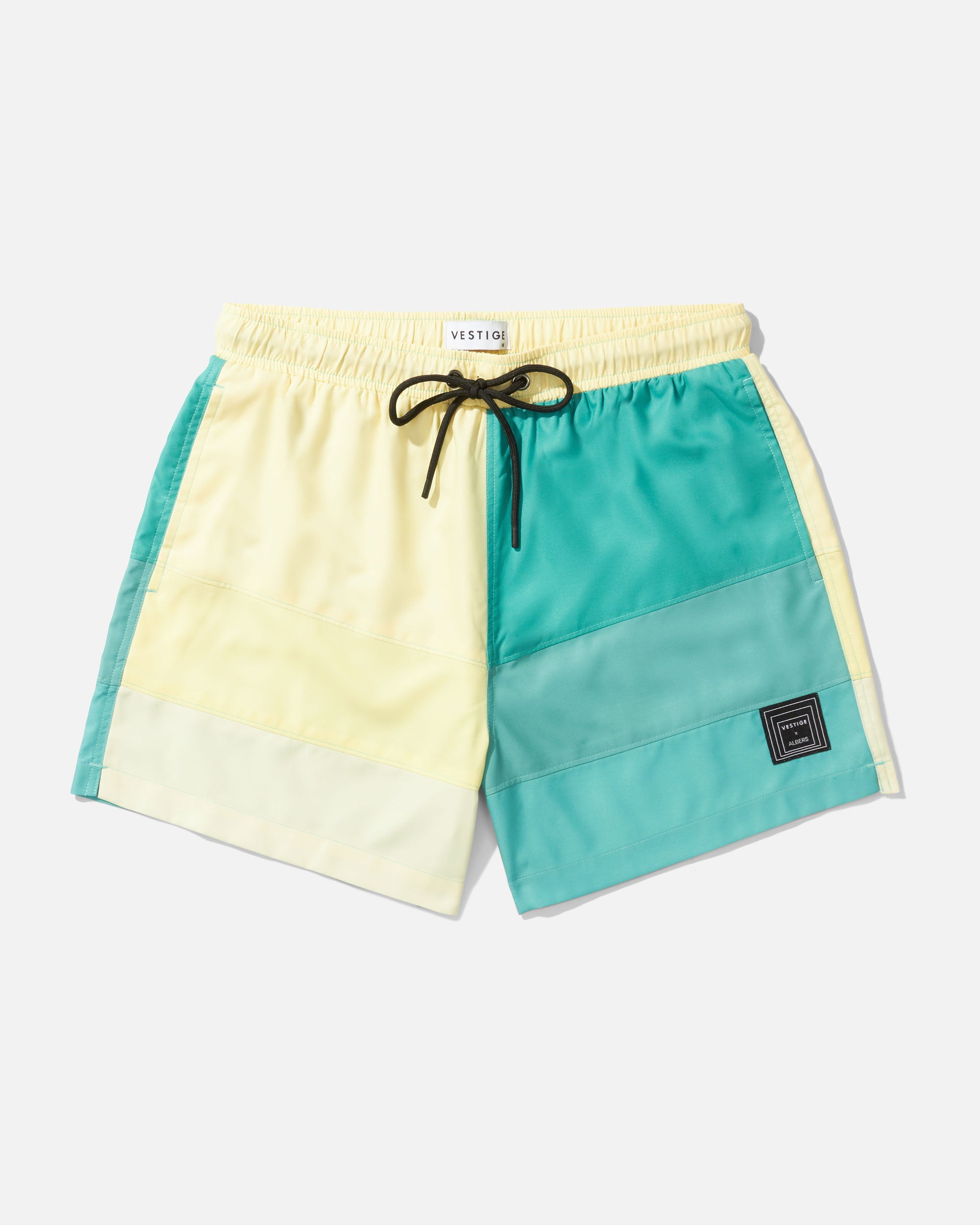 Square Color Block Swim Short, Green
