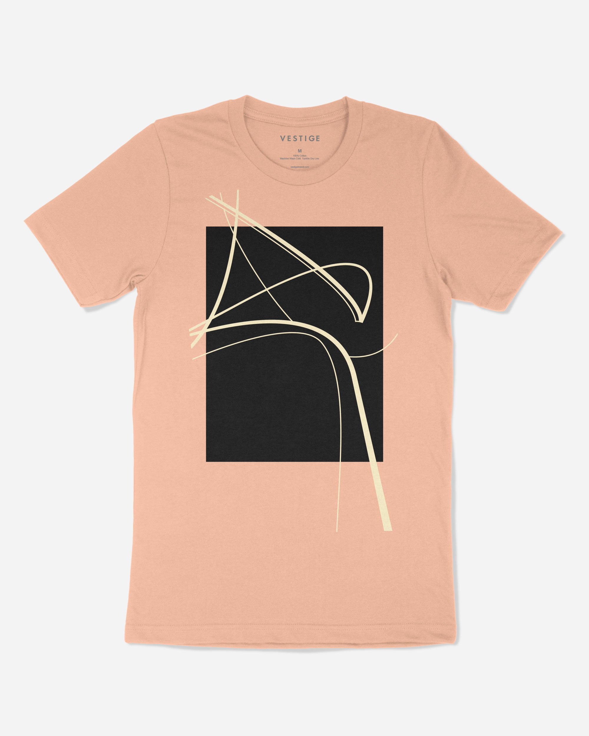 Curved Abstract T-Shirt, Clay