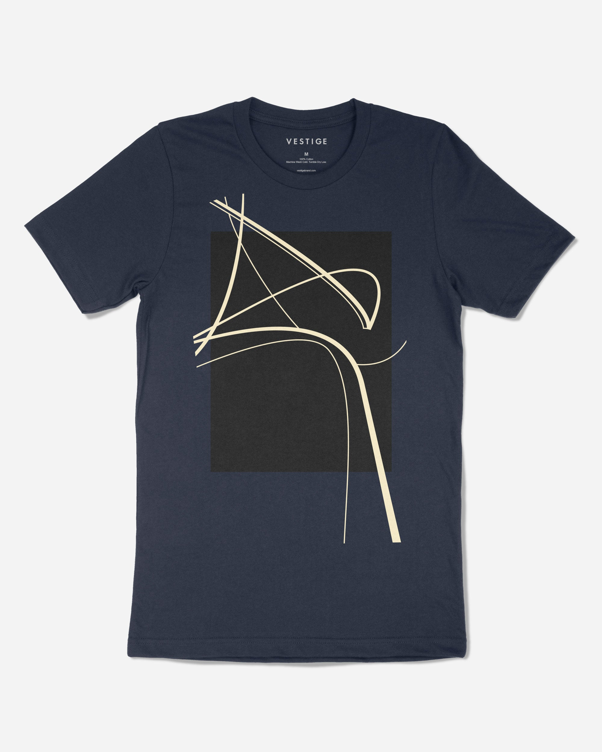Curved Abstract T-Shirt, Navy
