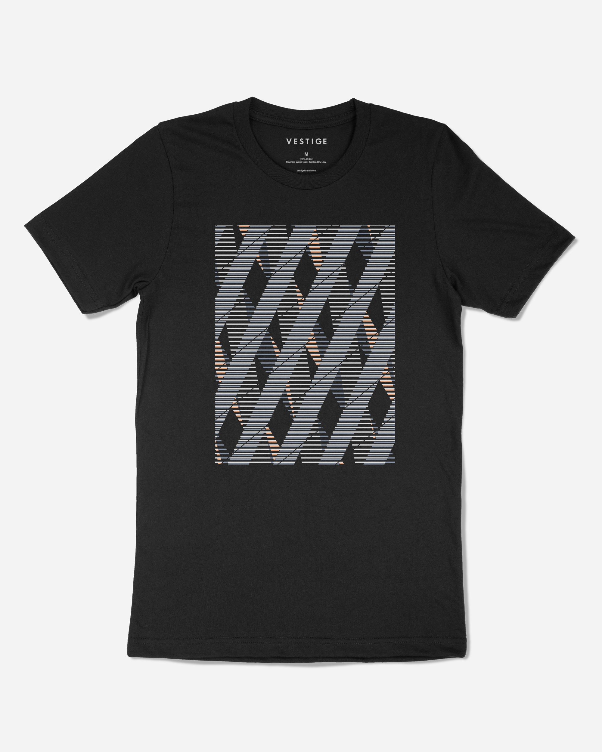 Abstract Diamond T-Shirt, Black