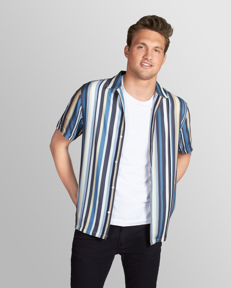 Chromatic Stripe Camp Shirt, Blue