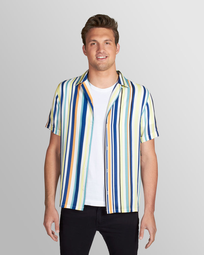 Chromatic Stripe Camp Shirt, Yellow