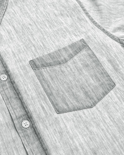 Denim Short Sleeve Shirt, Light Grey