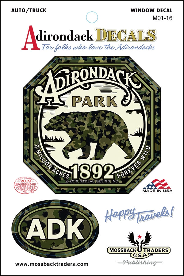 Adirondack Park Camo Bear Sticker