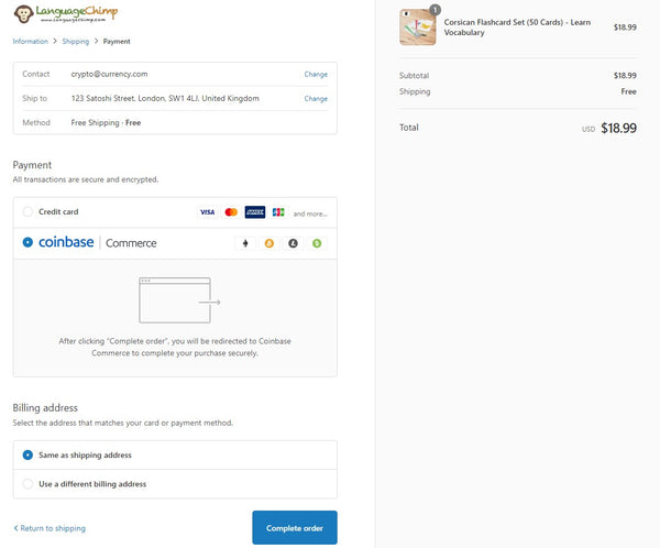 Select Coinbase Commerce as shipping method to pay by cryptocurrencies like Bitcoin Litecoin Etherium Bitcoin Cash and USD Coin