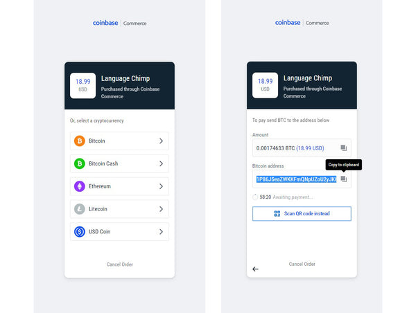 Coinbase wallet details to pay by cryptocurrencies like Bitcoin Litecoin Etherium Bitcoin Cash and USD Coin