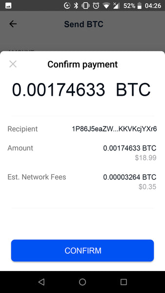 Confirm sending Bitcoin to Coinbase wallet to pay by cryptocurrencies like Bitcoin Litecoin Etherium Bitcoin Cash and USD Coin