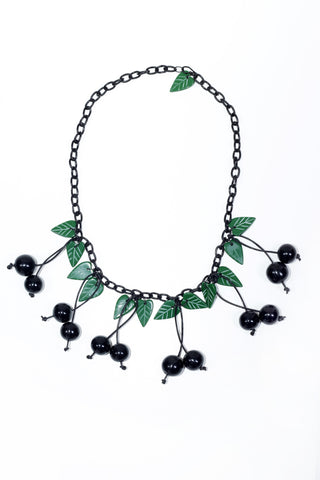 Fakelite Cherries Necklace - Black