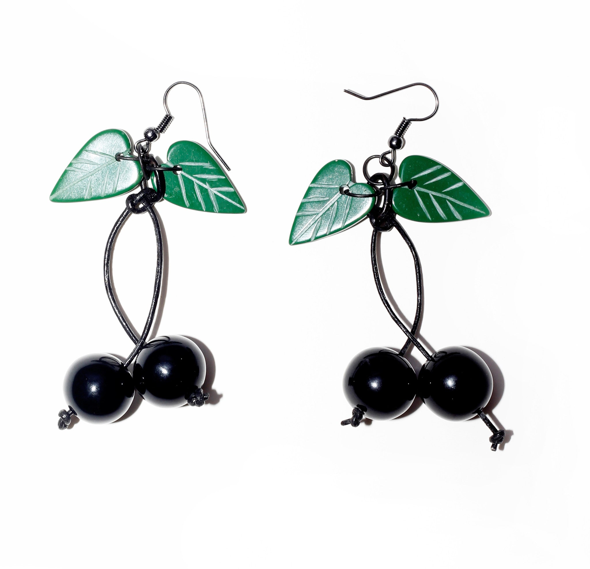 Fakelite Cherries Earrings - Black