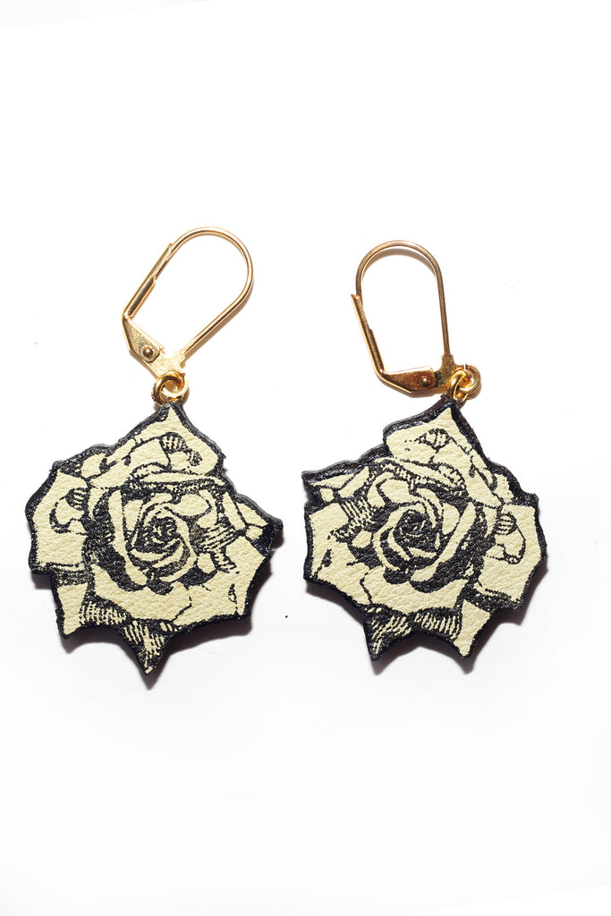Rose Earrings - Yellow