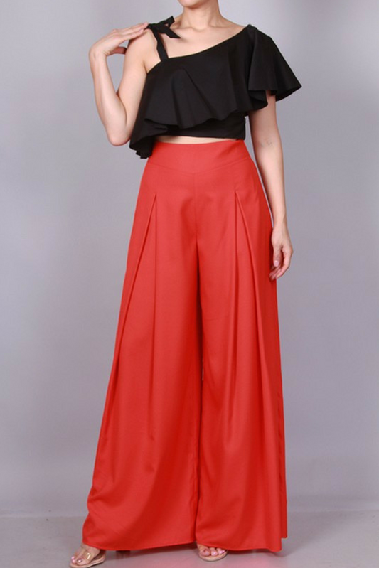 Callista Wide Leg Trousers - Red