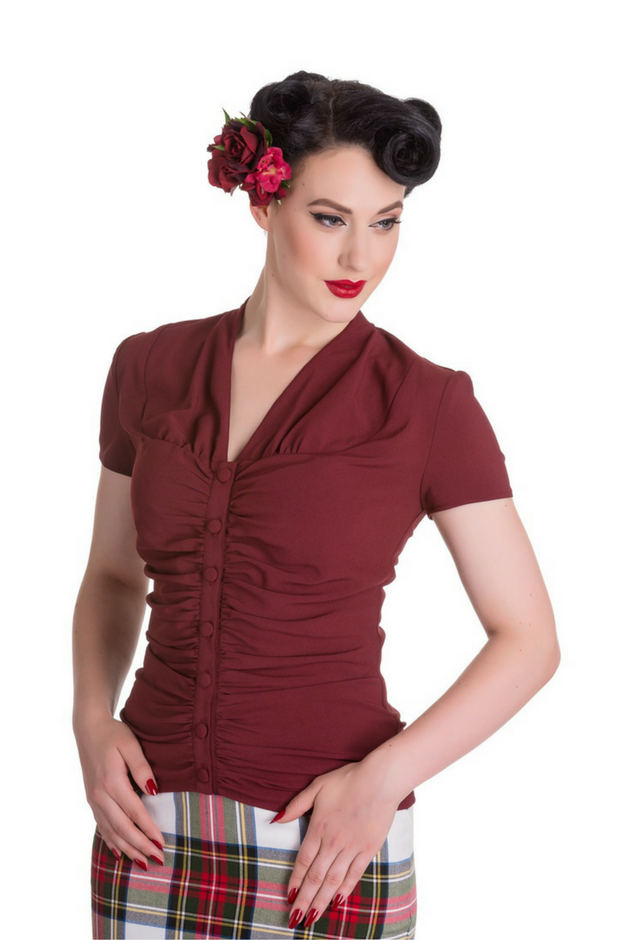 Coleen Button Blouse - Burgundy