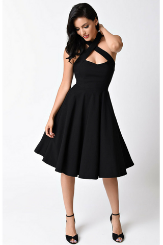 Vixen Halter Dress - Black