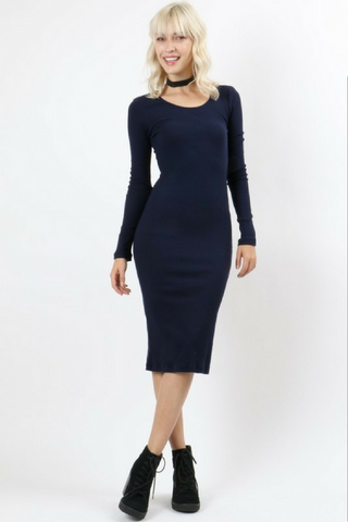 Connie Knit Pencil Dress - Navy