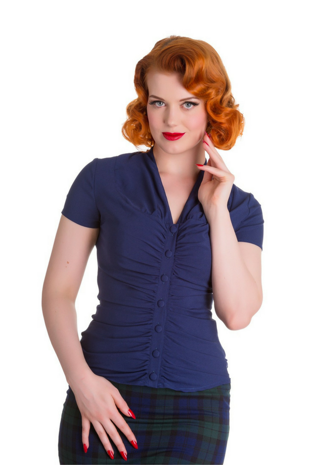 Coleen Button Blouse - Navy