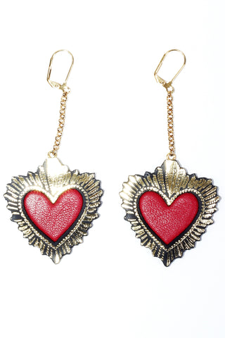 Sacred Heart Earrings - Red
