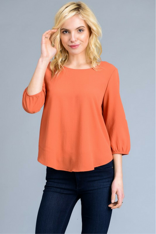 Casey Boat Neck Blouse - Coral
