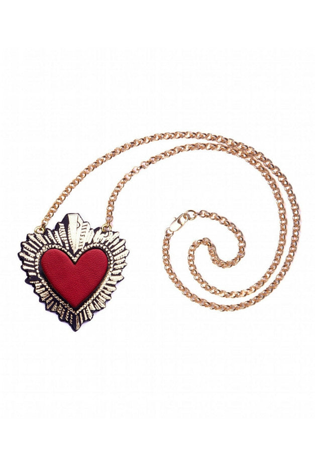 Sacred Heart Pendant Necklace - Red