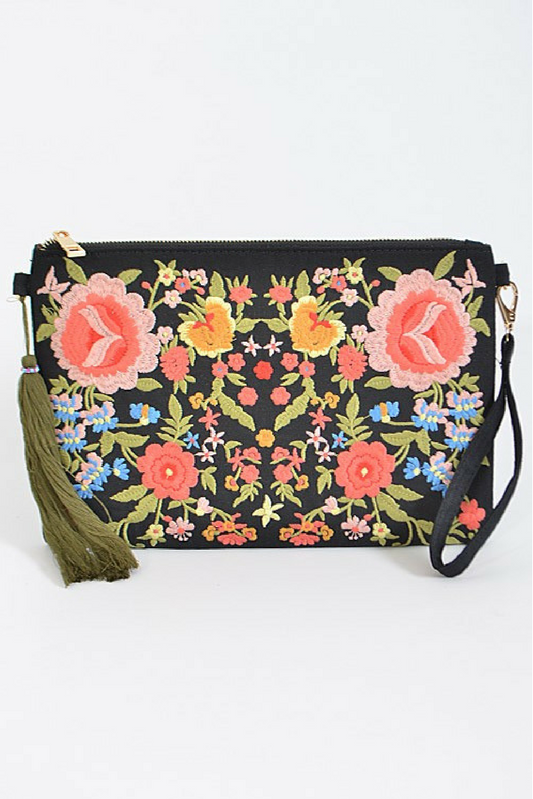 Music Fest Embroidered Clutch - Black