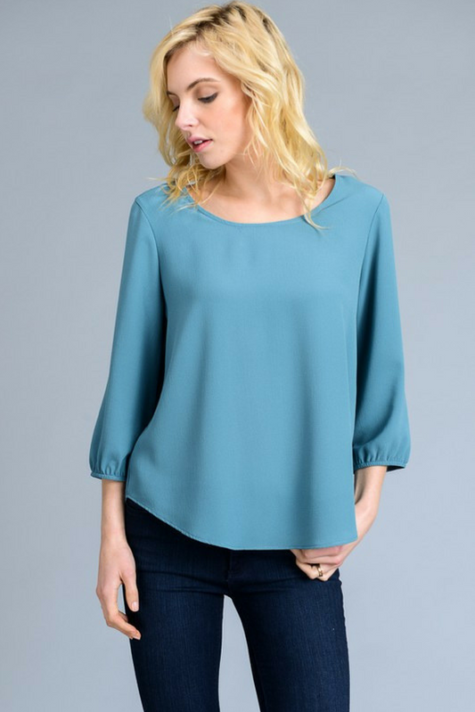 Casey Boat Neck Blouse - Teal