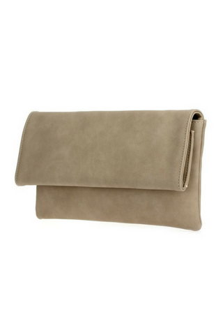 Carolina Foldover Clutch - Beige