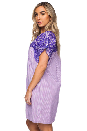 BuddyLove Alessandra Short Sleeved Embroidered Mini Dress - Purple - Buddy Love Clothing Label
