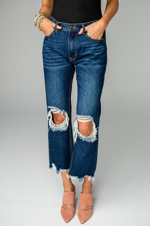 BuddyLove Rosco High-Waisted Distressed Boyfriend Jeans - Dark Blue,24 / Blue / Solids