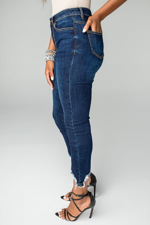 BuddyLove Boss High-Waisted Distressed Ankle Stretched Denim Jeans - Dark Blue
