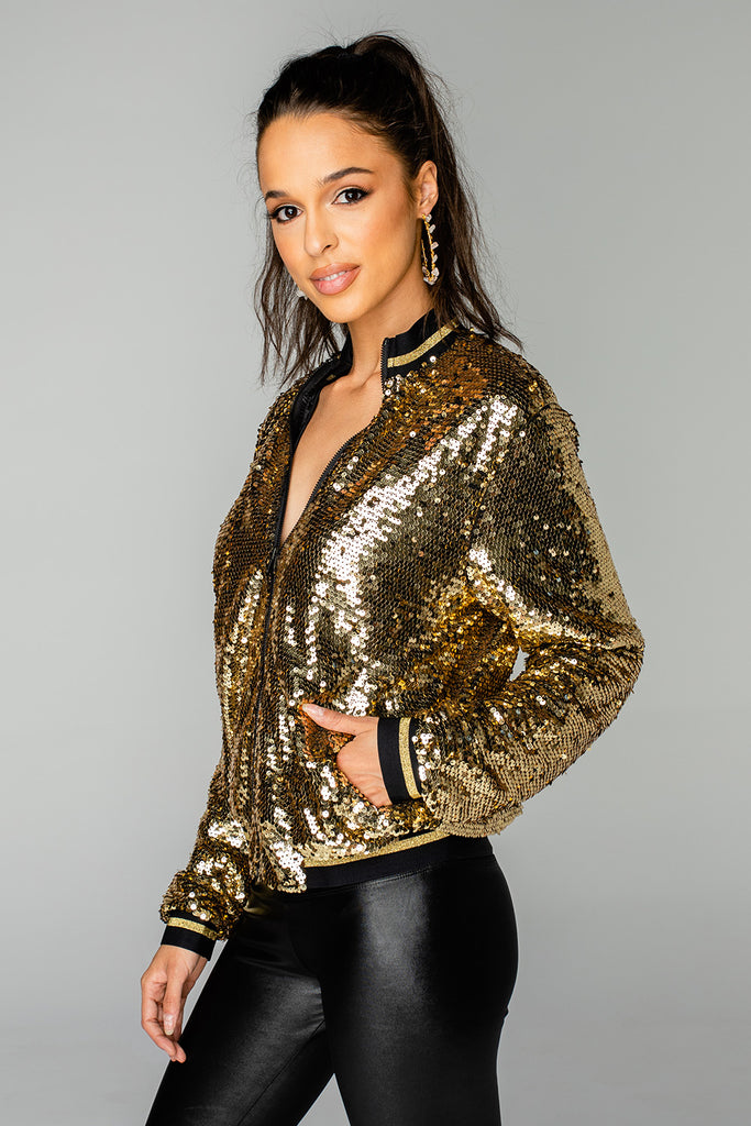 BuddyLove Paris Sequin Bomber Jacket - Gold