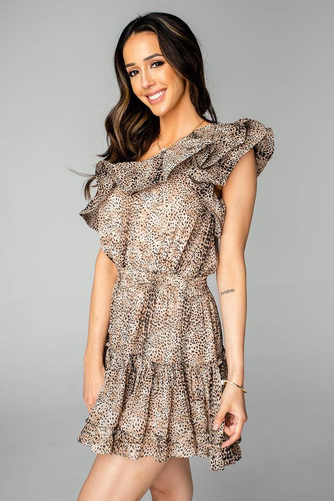 BuddyLove Sofia One Shoulder Ruffled Cocktail Dress - Roar