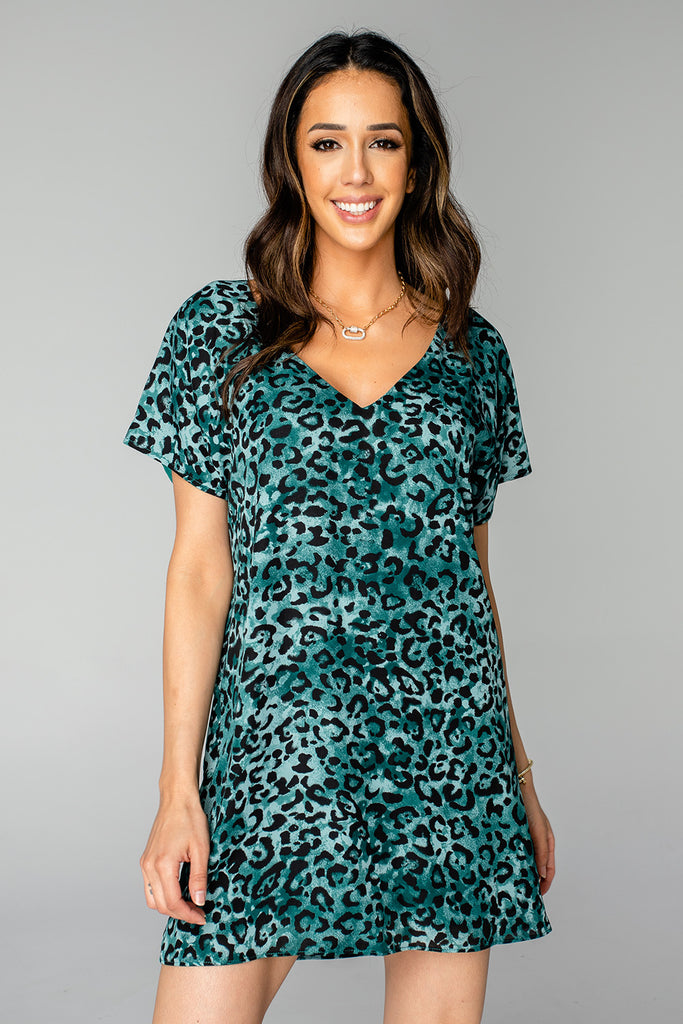 BuddyLove Baker V-Neck Shift Dress - Lagoon