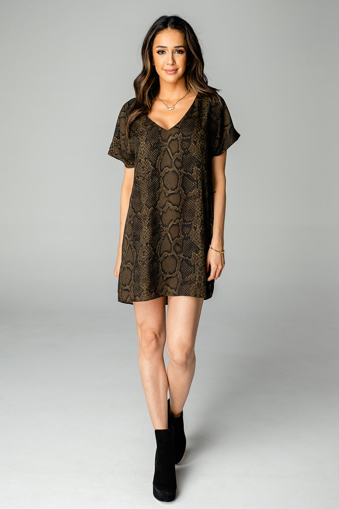 BuddyLove Baker V-Neck Shift Dress - Olive