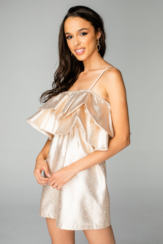 BuddyLove Kelsey Ruffled Chest Cocktail Dress - Gold