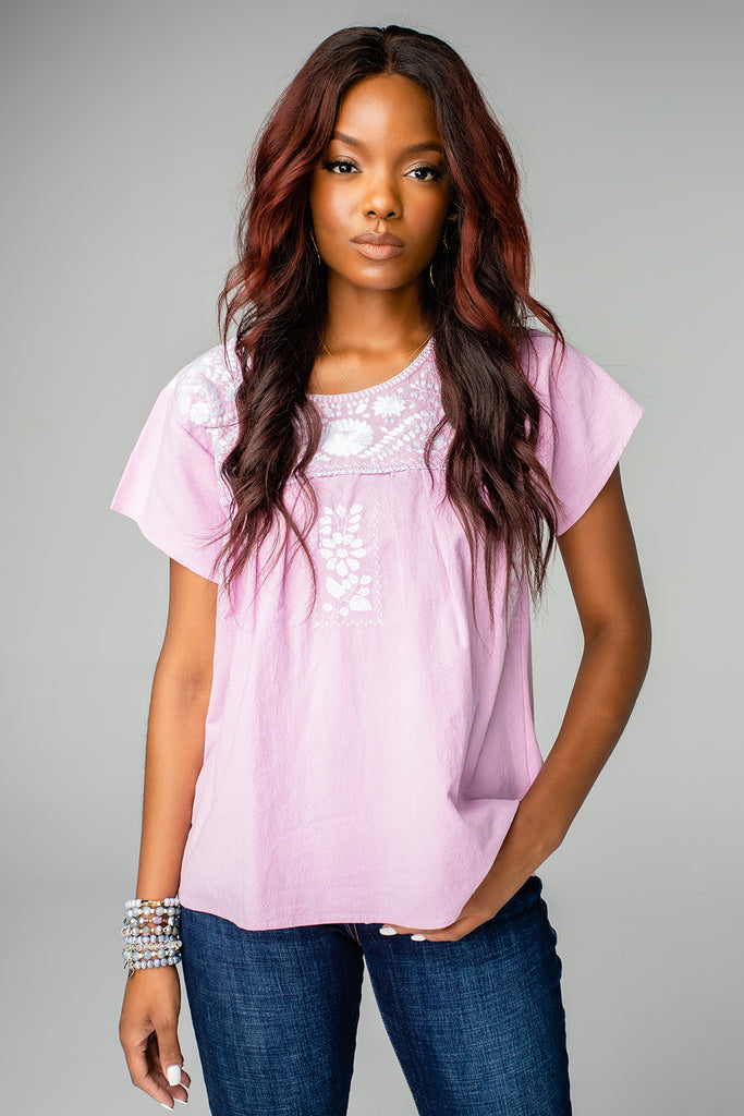BuddyLove Anniston Short Sleeved Embroidered Top - Violet