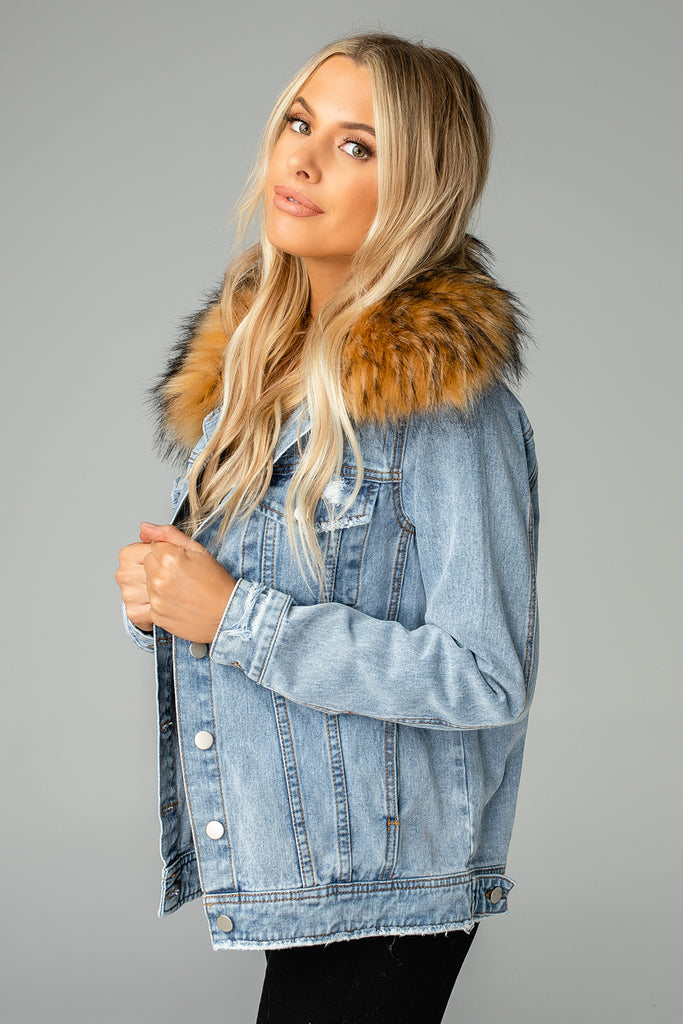 BuddyLove Hazel Fur Collared Denim Jacket - Blue