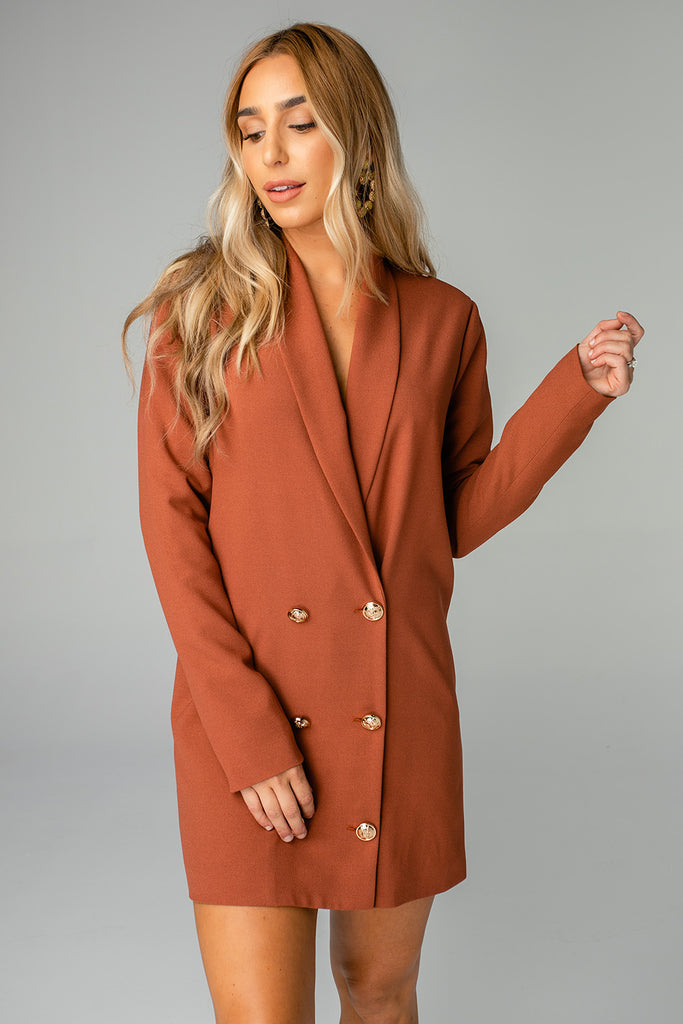 BuddyLove Carey Long Sleeved Short Blazer Dress - Cappuccino,XS / Brown / Solids