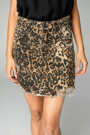 BuddyLove Sharon Distressed Mini Skirt - Leopard