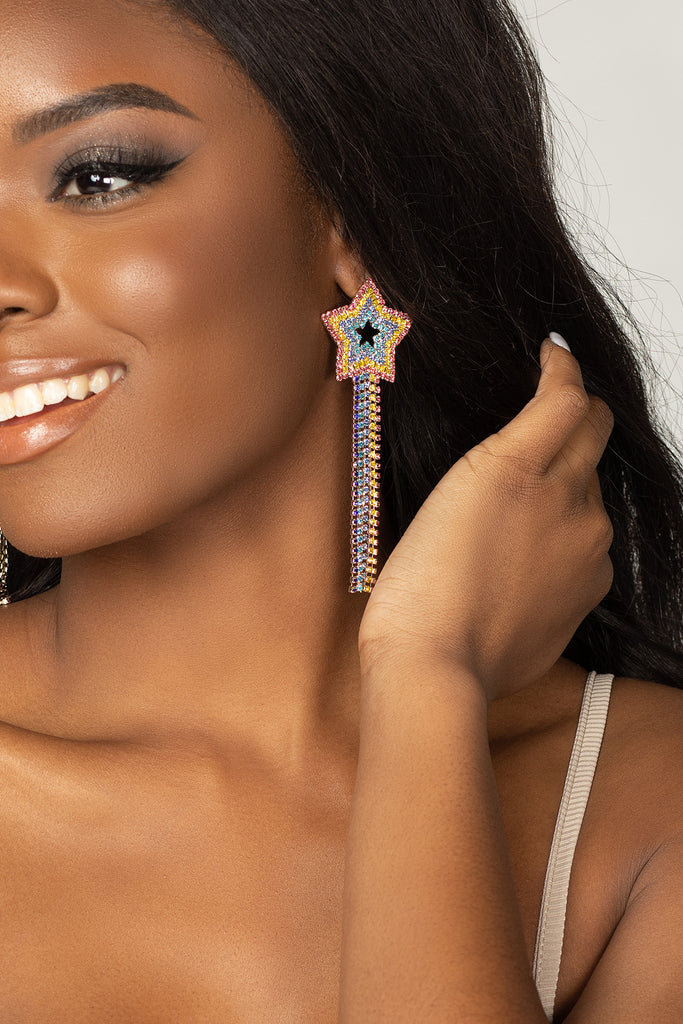 BuddyLove Rainbow Star Drop Earrings - Multi