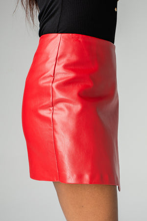 BuddyLove Madonna Enveloped Vegan Leathered Skirt - Wine