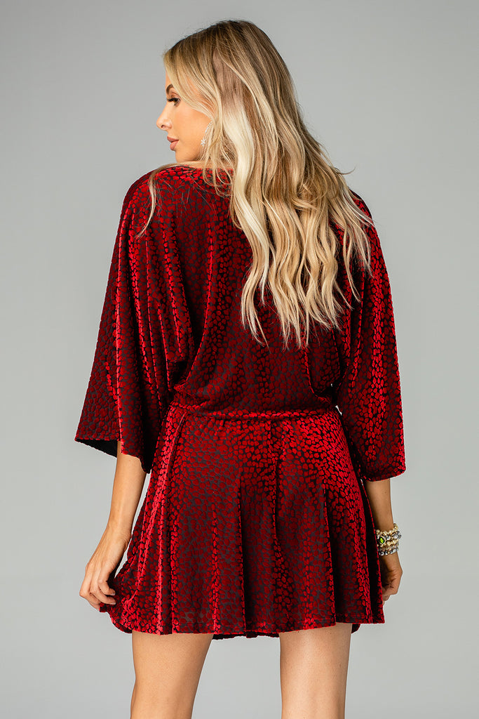 BuddyLove Whitney Long Sleeved Velvet Burnout Mini Dress - Vamp