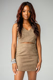BuddyLove Stevie Fitted Cut Out Suede Dress - Olive