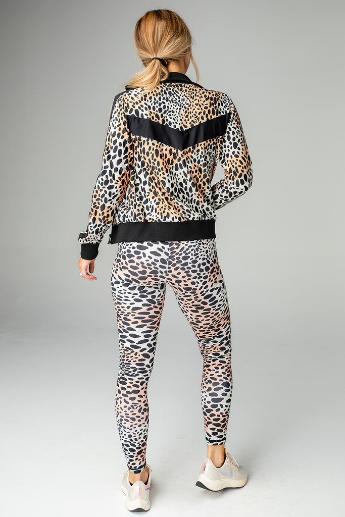 BuddyLove Vonn Elastic Long Sleeve Zip Up Jacket - Cheetah