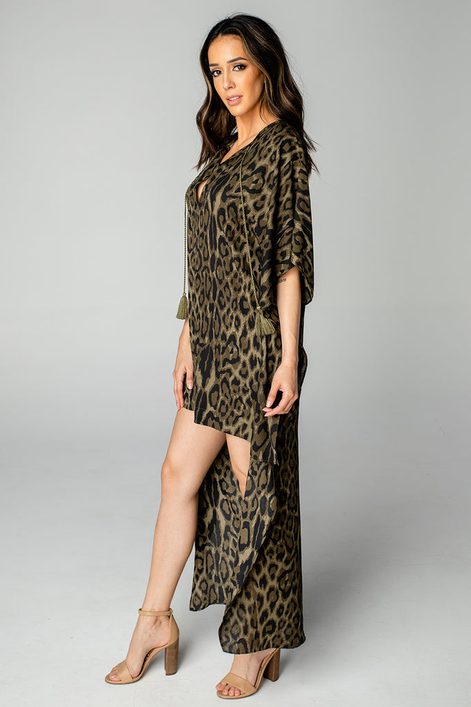 BuddyLove Derby High-Low V-Neck Maxi Dress - Bearcat