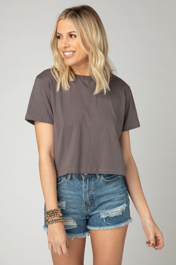 BuddyLove Aaron Cropped Tee - Charcoal,S / Grey / Solids